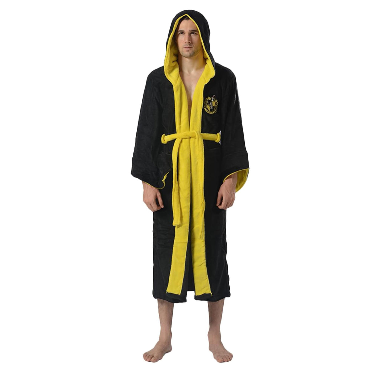 Harry Potter Hufflepuff Hooded Bathrobe for Adults | One Size Fits Most