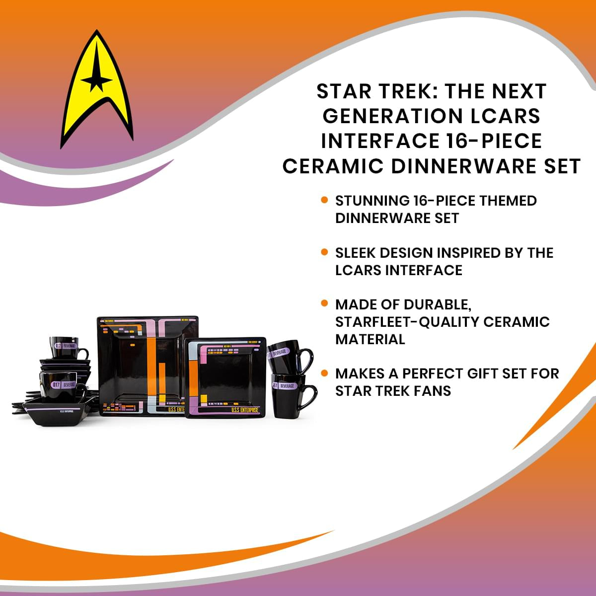Star Trek: The Next Generation LCARS Interface 16-Piece Ceramic Dinnerware Set