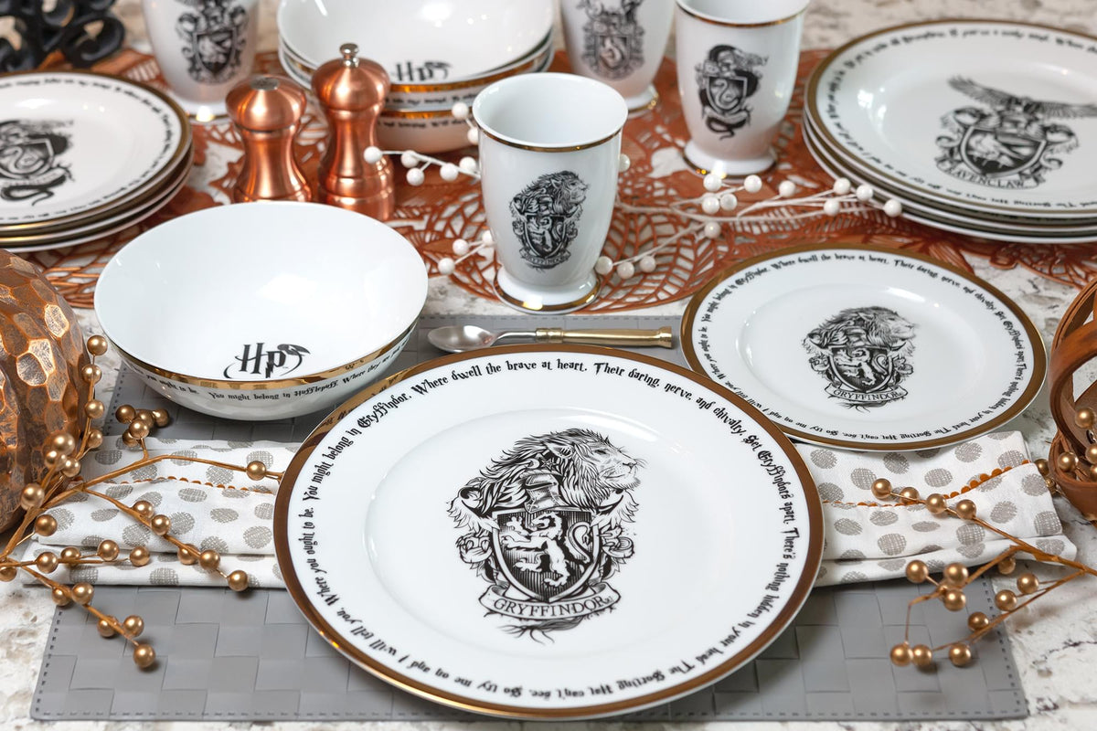 Harry Potter Hogwarts House Logos 16-Piece Ceramic Dinnerware Set