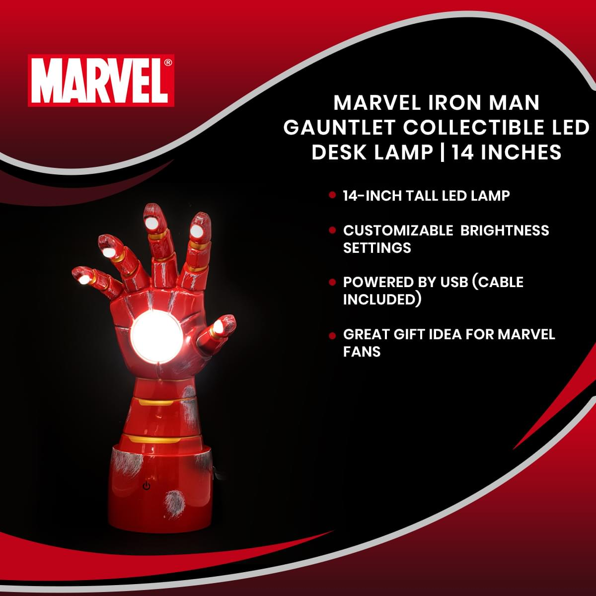 Marvel Iron Man Gauntlet Collectible LED Desk Lamp | 14 Inches