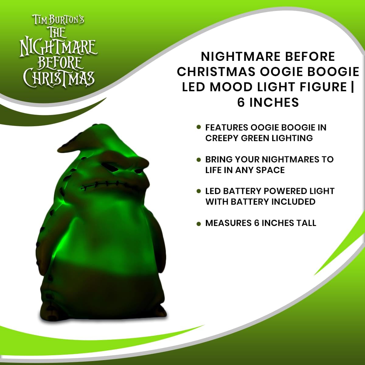 Nightmare Before Christmas Oogie Boogie LED Mood Light Figure | 6 Inches