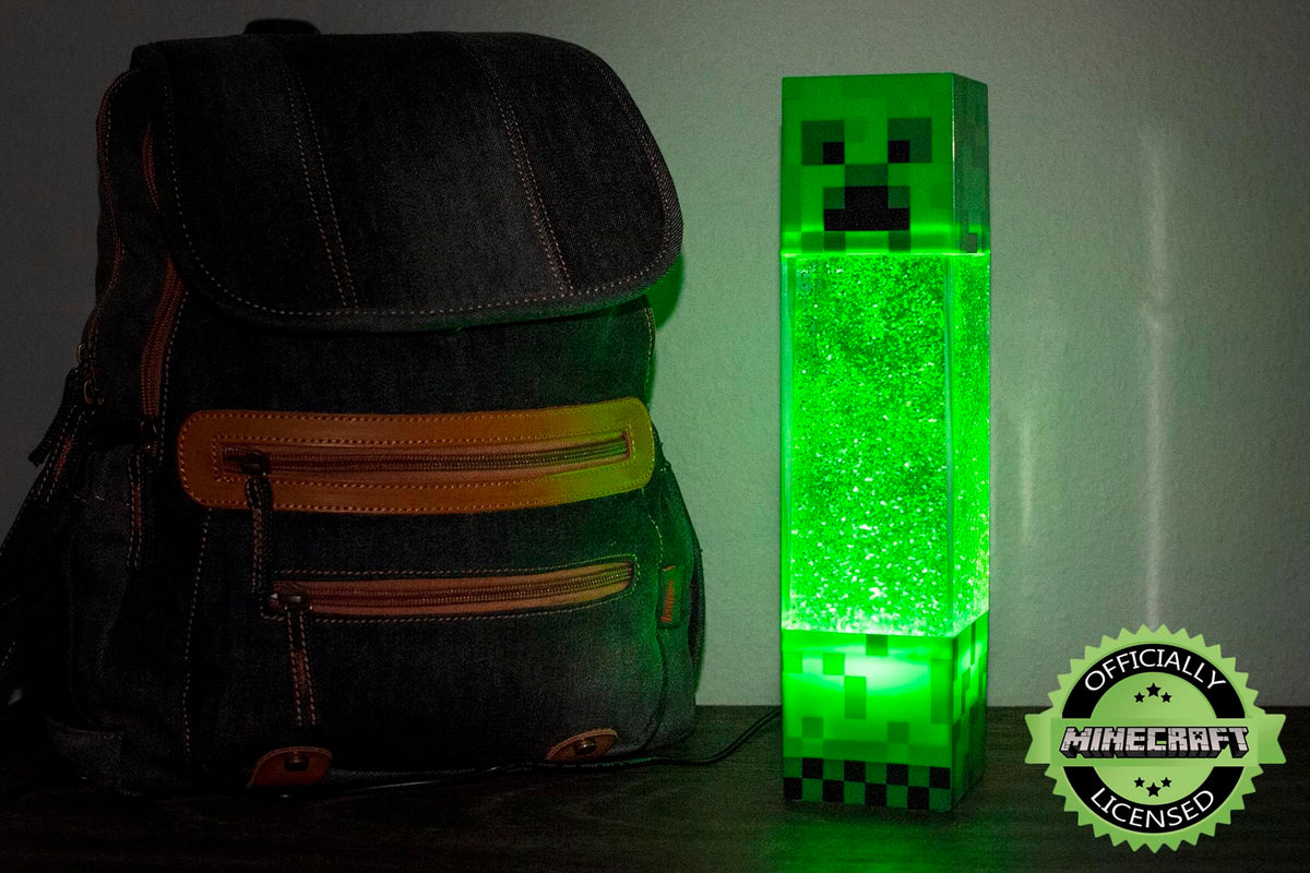 Minecraft Creeper Glitter Motion Light | 12-Inch Fun Mood Light LED Lamp