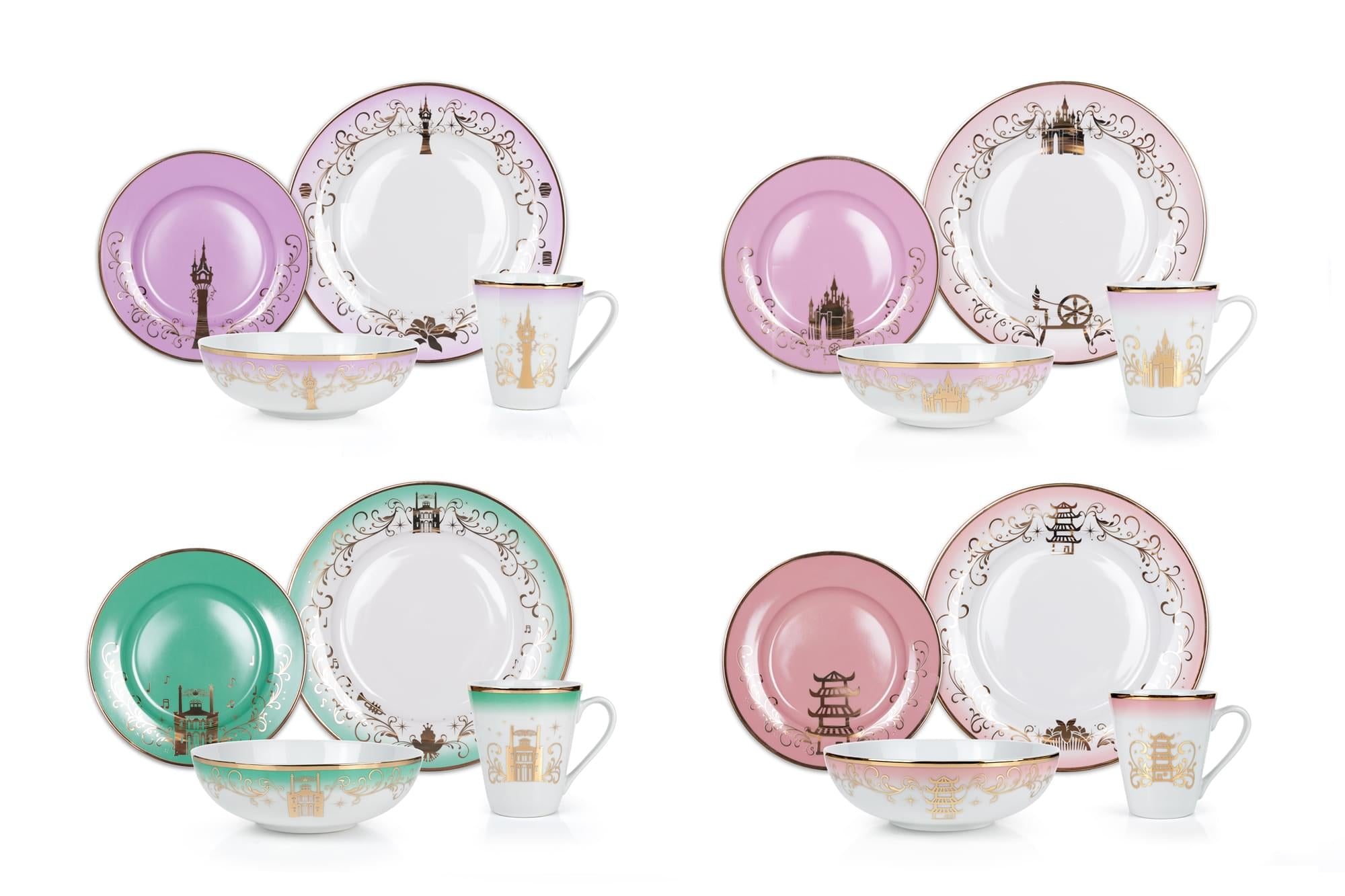 Disney Themed 16 Piece Ceramic Dinnerware Set Collection 2 | Plates | Bowls | Mugs
