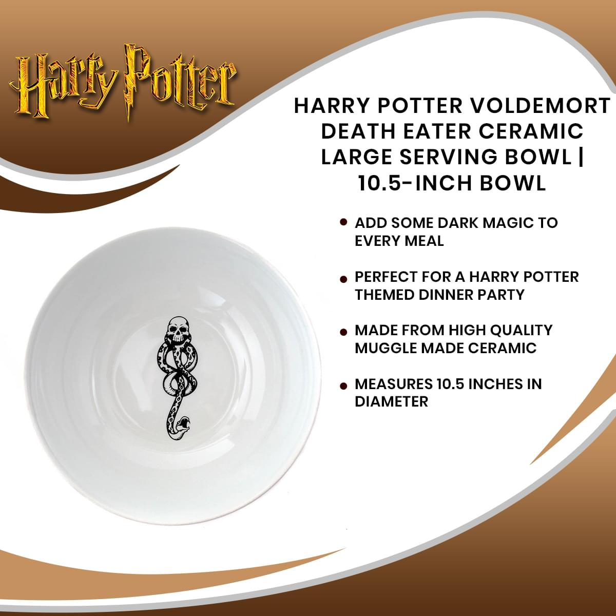 Harry Potter Voldemort Death Eater Ceramic Large Serving Bowl | 10.5-Inch Bowl