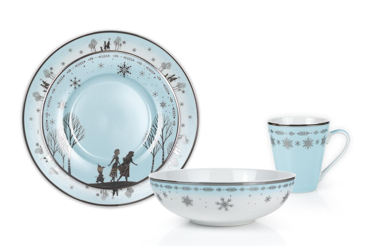 Disney Frozen 2 Anna & Elsa Ceramic Dining Set Collection | 16-Piece Dinner Set