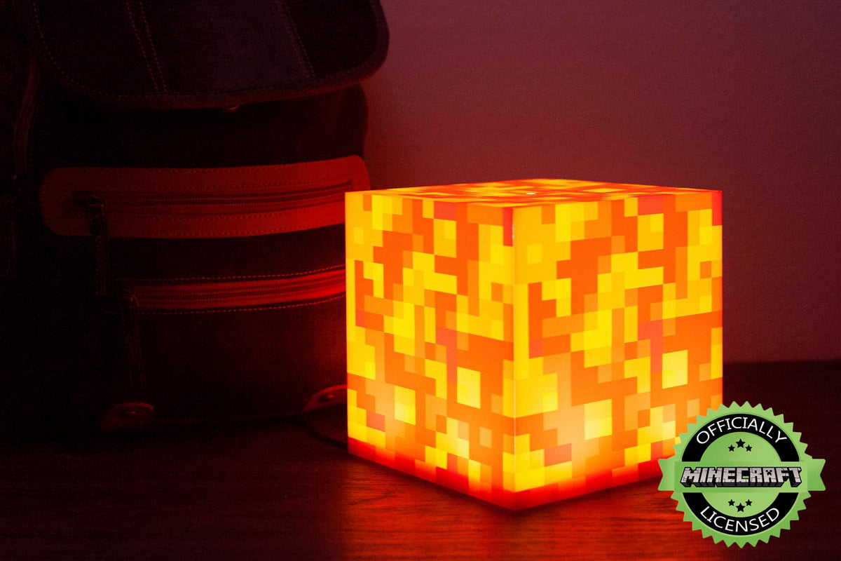 Minecraft Lava Block LED Mood Light | Minecraft Mood Lighting | 6 Inches Tall