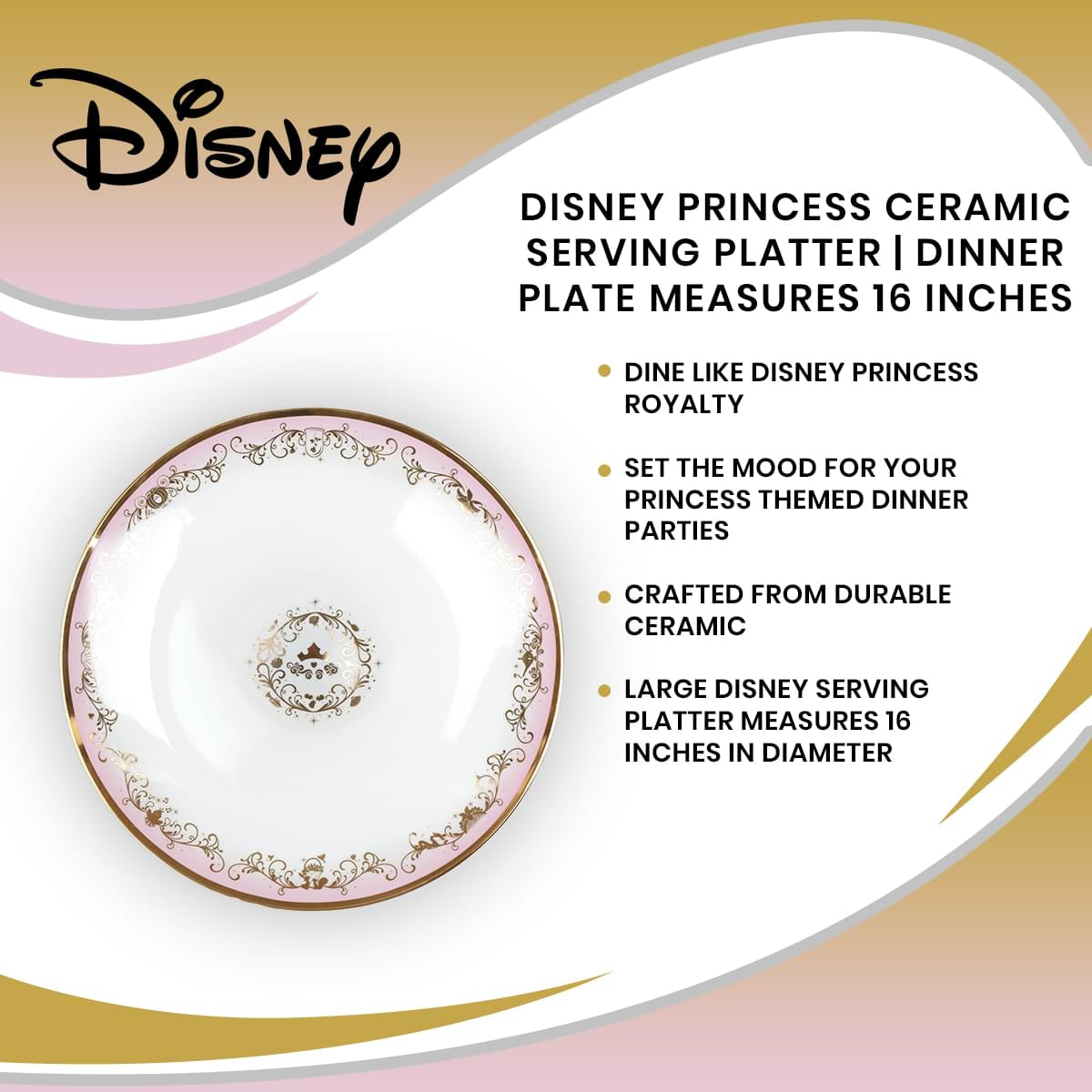 Disney Princess Ceramic Serving Platter | Plate Measures 16 Inches