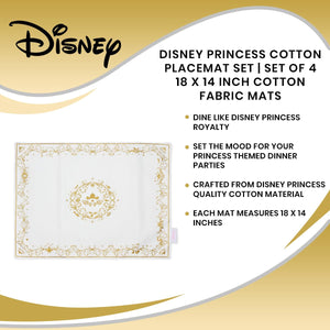 Disney Princess Cotton Placemat Set | Set Of 4 18 x 14 Inch Cotton Fabric Mats