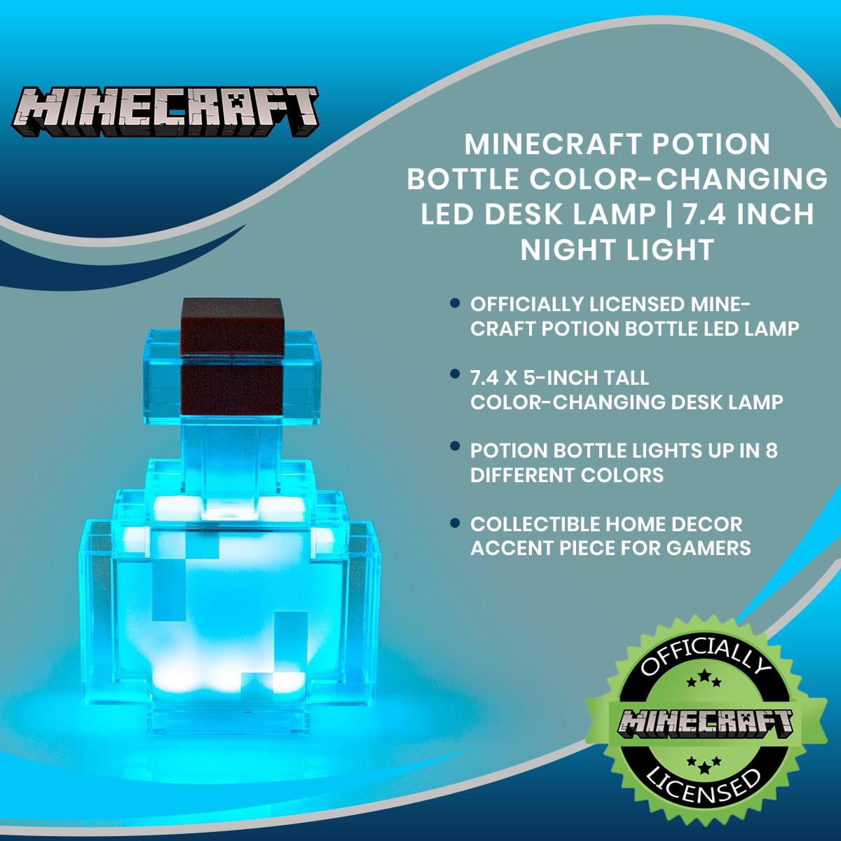 Minecraft Potion Bottle Color-Changing LED Desk Lamp | 7 Inch Night Light