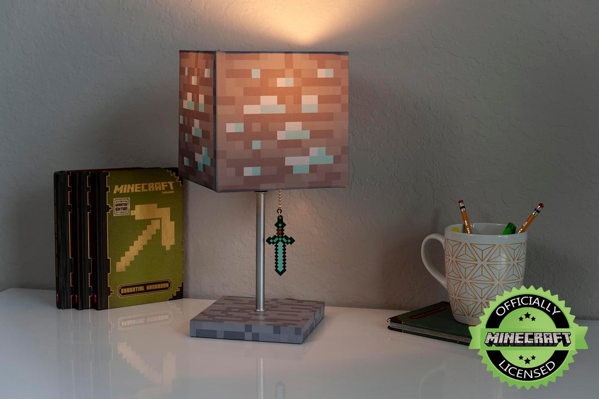 Minecraft Diamond Ore LED Lamp w/ 3D Diamond Sword Pull | 14-Inch Desk Lamp
