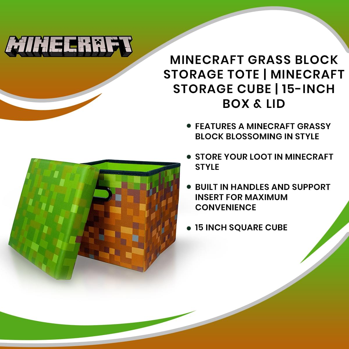 Minecraft Grass Block Storage Tote | Minecraft Storage Cube | 15-Inch Box & Lid