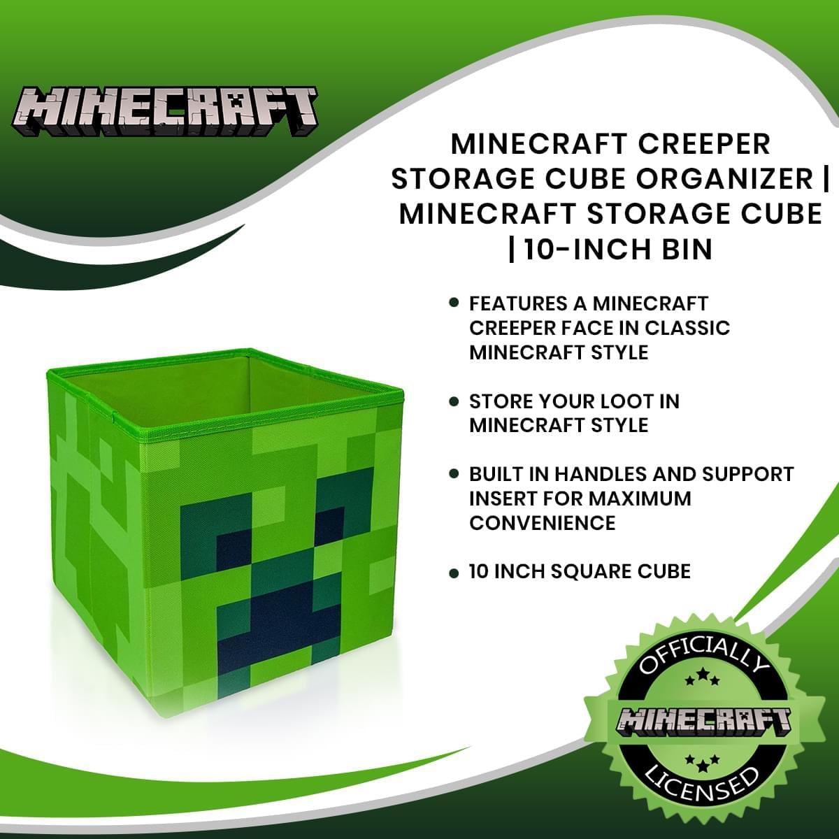 Minecraft Creeper Storage Cube Organizer | Minecraft Storage Cube | 10-Inch Bin