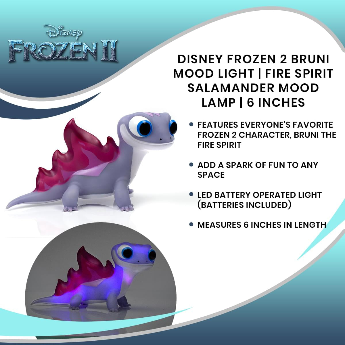 Disney Frozen 2 Bruni Mood Light | Fire Spirit Salamander Mood Lamp | 6 Inches