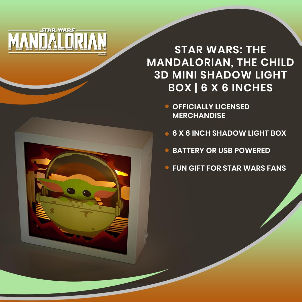 Star Wars: The Mandalorian, The Child 3D Mini Shadow Light Box | 6 x 6 Inches