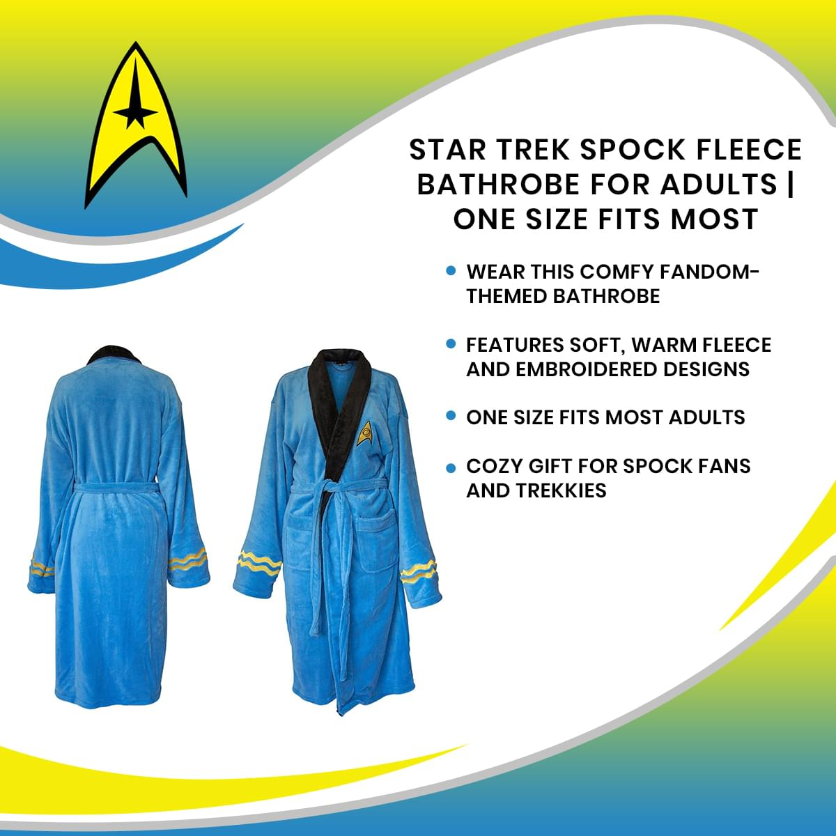 Star Trek Spock Fleece Bathrobe for Adults | One Size Fits Most