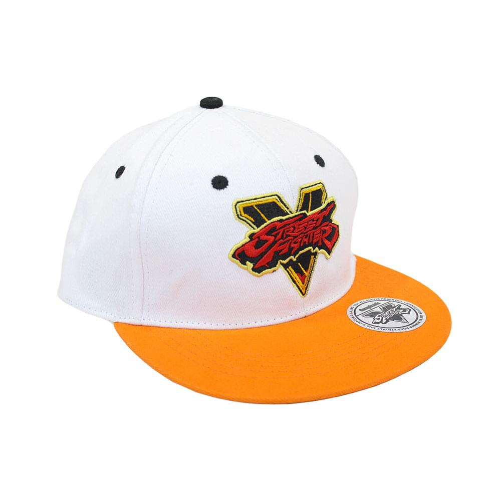 Street Fighter V Logo Embroidered Snapback Hat (White)