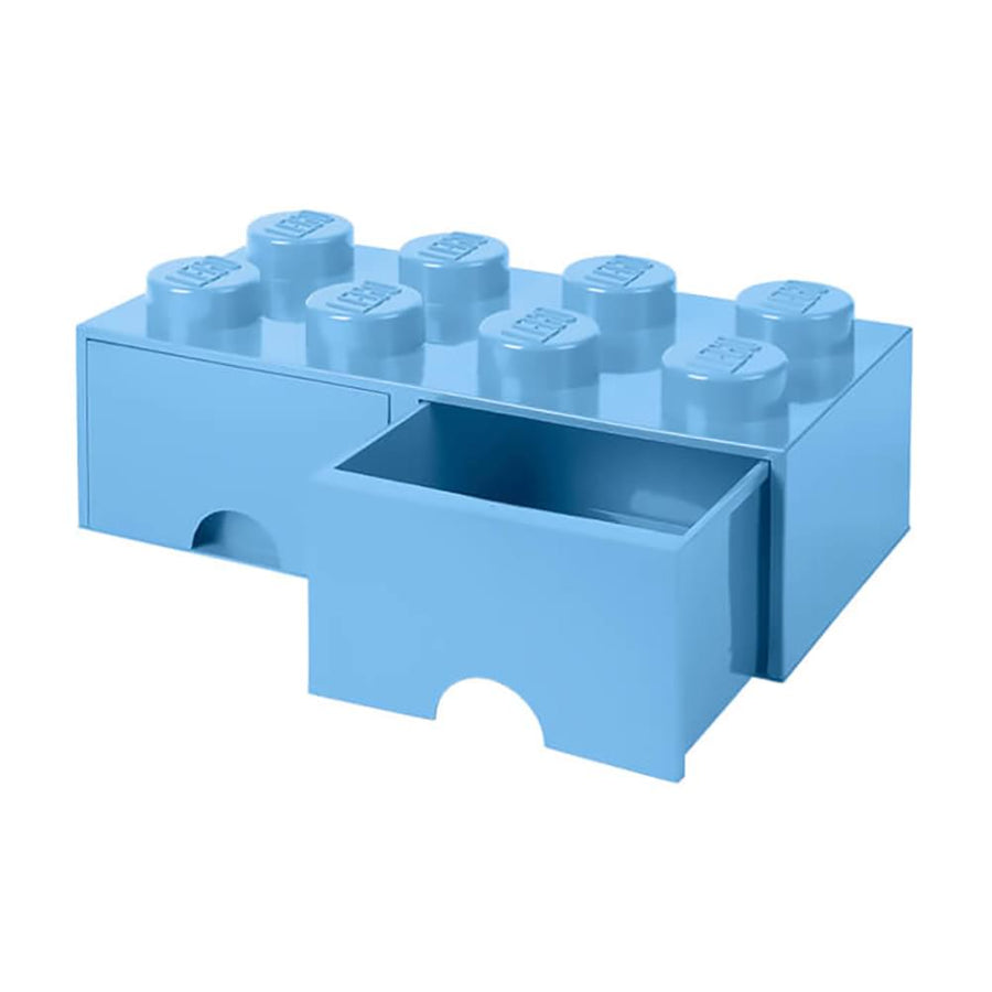 LEGO Brick Drawer, 8 Knobs, 2 Drawers, Stackable Storage Box, Light Blue