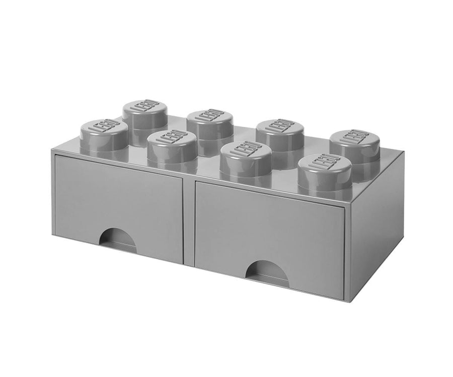 LEGO Brick Drawer, 8 Knobs, 2 Drawers, Stackable Storage Box, Stone Grey