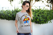 "Load image into Gallery viewer, Schoolhouse Rock! ""Knowledge Is Power"" Adult T-Shirt - Grey"