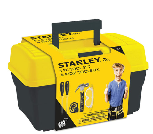 Stanley Jr. 5 Piece Tool Set & Toolbox | Real Tools for Kids