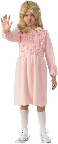 Stranger Things Eleven Long Sleeve Child Costume Dress - Pink