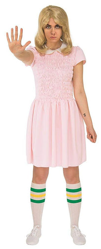 Stranger Things Eleven Short Sleeve Adult Costume Dress - Pink