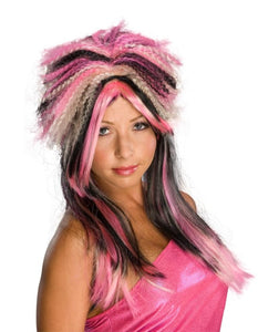 Punk Rock 80'S Pink Black And Blonde Costume Wig