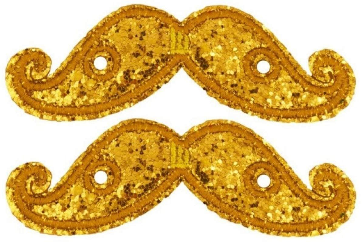 Shwings Shoe Accessories: Gold Sparkle Handlebar Mustache