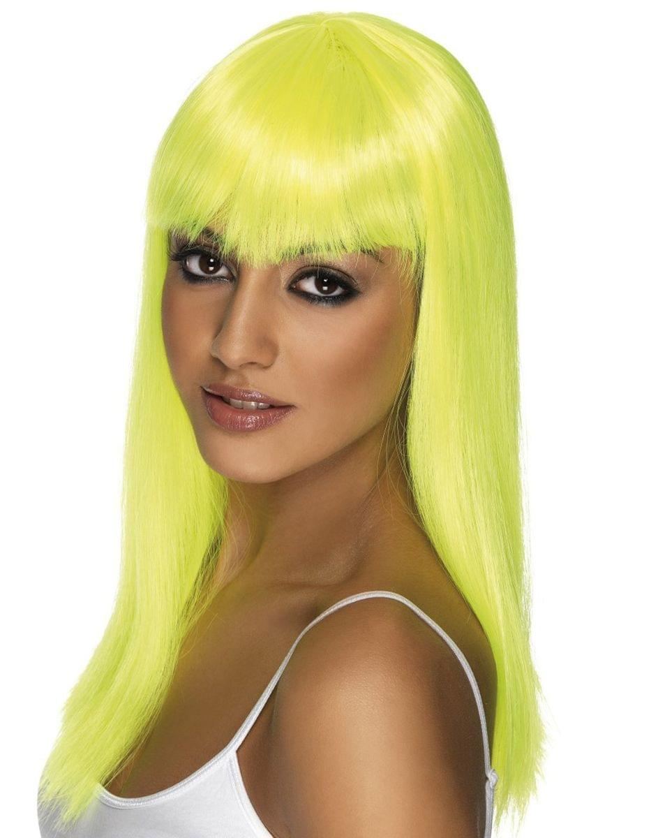 Long Neon Yellow Glamourama Adult Costume Wig