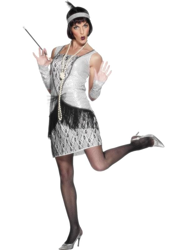 20's Flapper Costume Dress Silver Adult