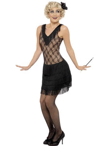 20's Jazz Black Costume Dress w/Hairpiece Adult