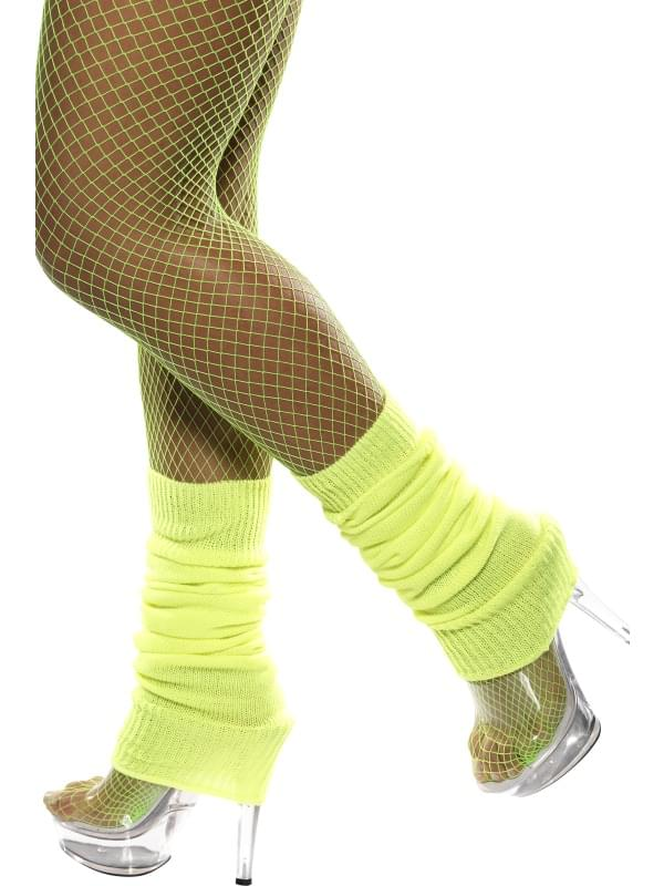 80's Neon Yellow Leg Warmers Costume Accessory