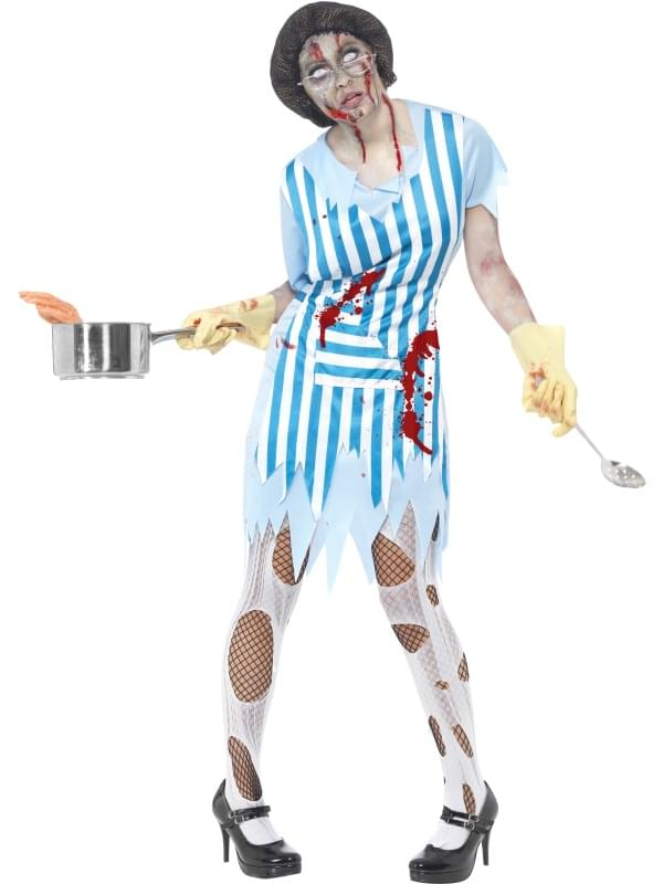 High School Horror Zombie Lunch Lady Costume Adult