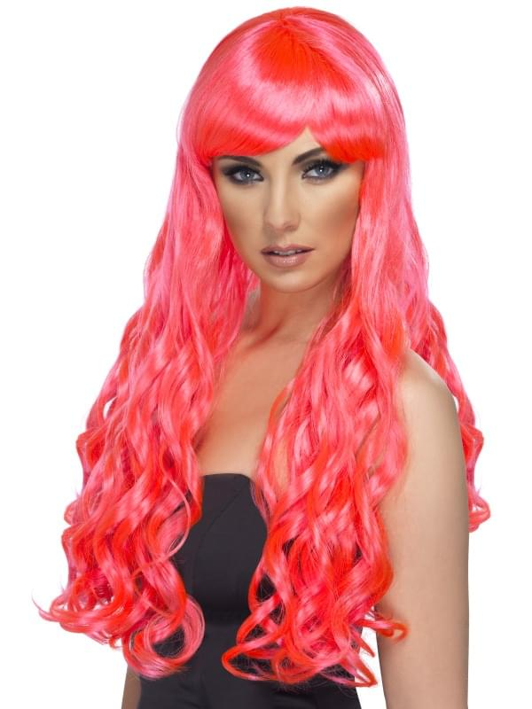 Desire Long Curly Costume Wig Adult Fuchsia