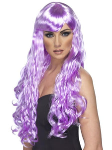 Desire Long Curly Costume Wig Adult Lilac