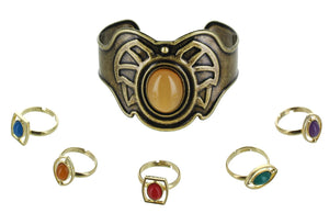 Marvel Infinity Stone Bracelet and Ring Set | 6 Pieces