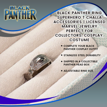 Load image into Gallery viewer, Black Panther Ring | Superhero T Challa Accessories | Licensed Marvel Jewelry | Perfect for Collectors, Cosplay, Costume