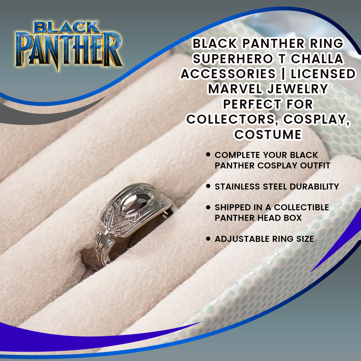 Black Panther Ring | Superhero T Challa Accessories | Licensed Marvel Jewelry | Perfect for Collectors, Cosplay, Costume