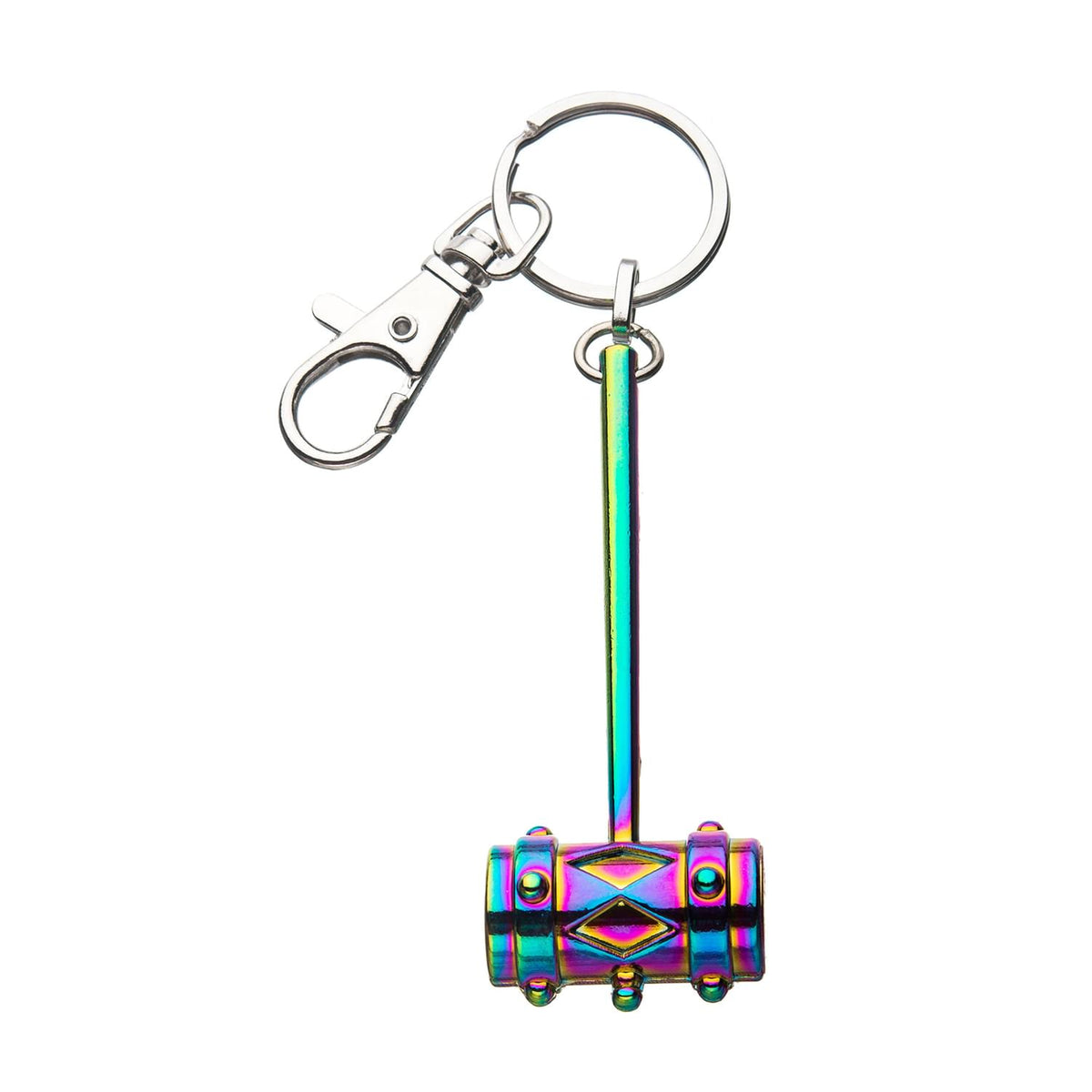 Birds of Prey Harley Quinn 3D Mallet with Rainbow Finish Metal Key Chain