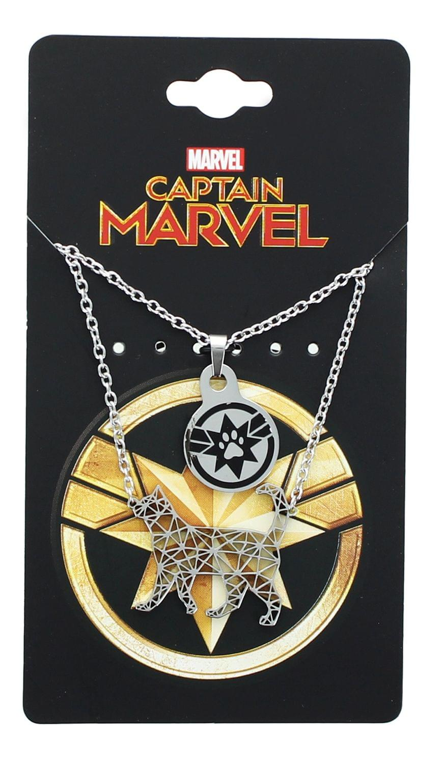 Marvel Captain Marvel Goose Silver 2 Tiered Pendant Necklace