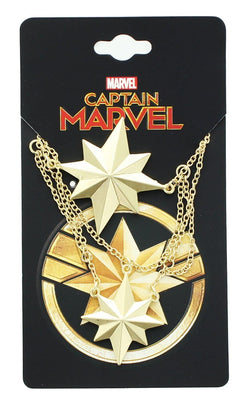 Marvel Captain Marvel Logo Gold 2 Tiered Pendant Necklace
