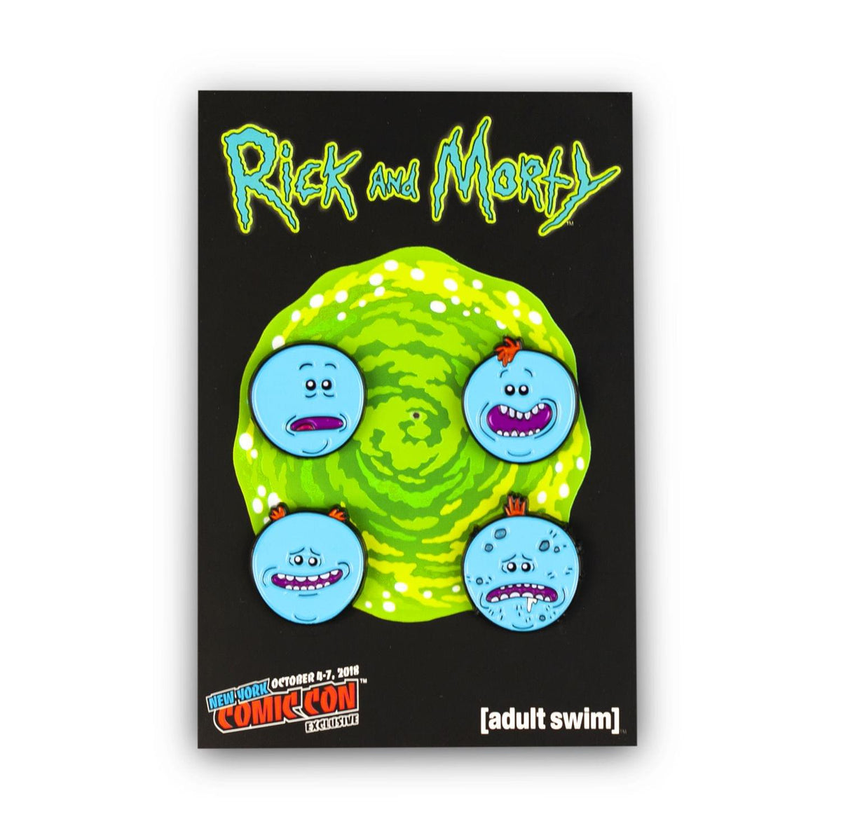 Rick and Morty Collector's Enamel Pins, Meeseeks, 4 Pack