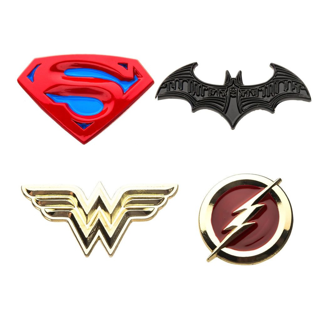 DC Justice League Logos Enamel Collector Pins | Set of 4