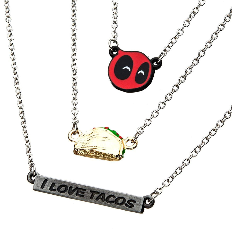 "Marvel Deadpool ""I Love Tacos"" 3-Tier Pendant Necklace"