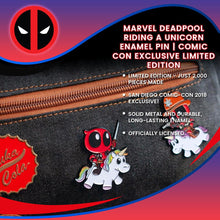 Load image into Gallery viewer, Marvel Deadpool Riding a Unicorn Enamel Pin | Comic Con Exclusive Limited Edition