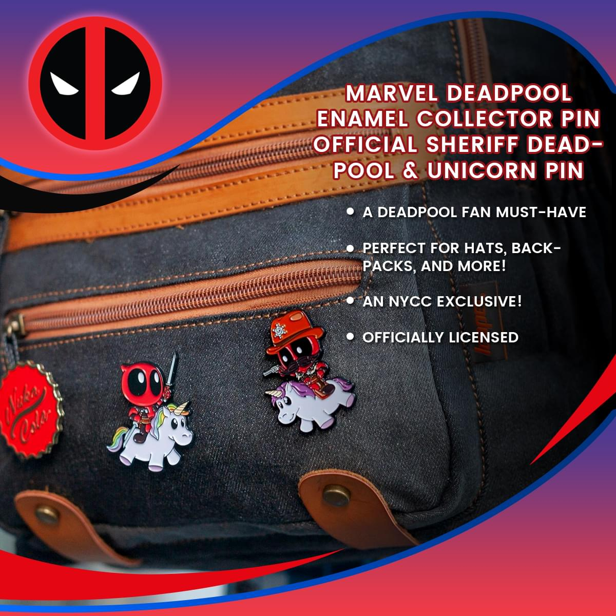 Marvel Deadpool Enamel Collector Pin | Official Sheriff Deadpool & Unicorn Pin