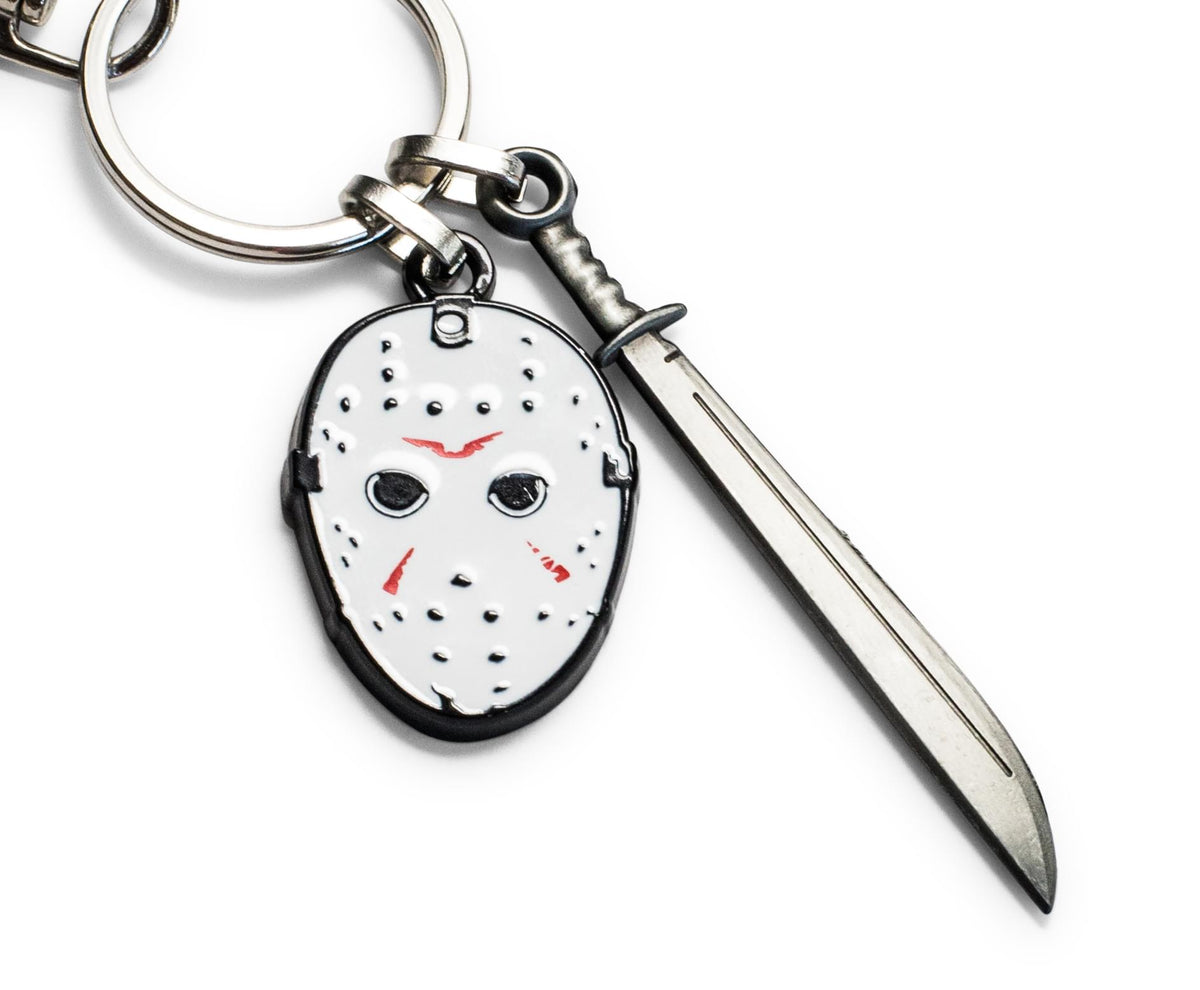 Friday The 13th Mask & Machete Sword Heavy Duty Metal Car & Backpack Keychain