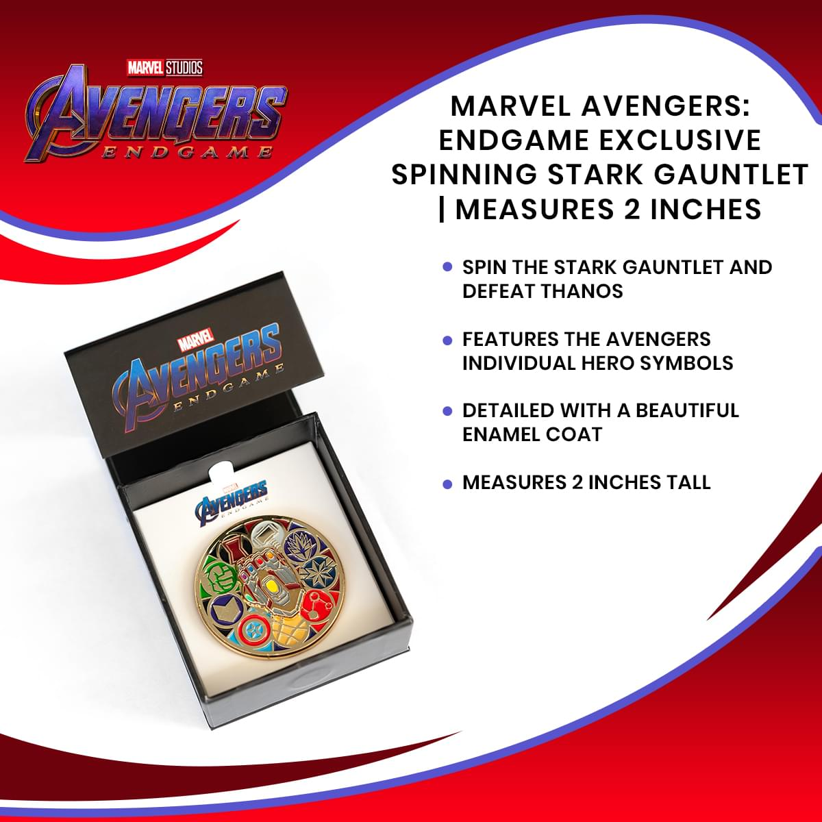 Marvel Avengers: Endgame Exclusive Spinning Stark Gauntlet | Measures 2 Inches