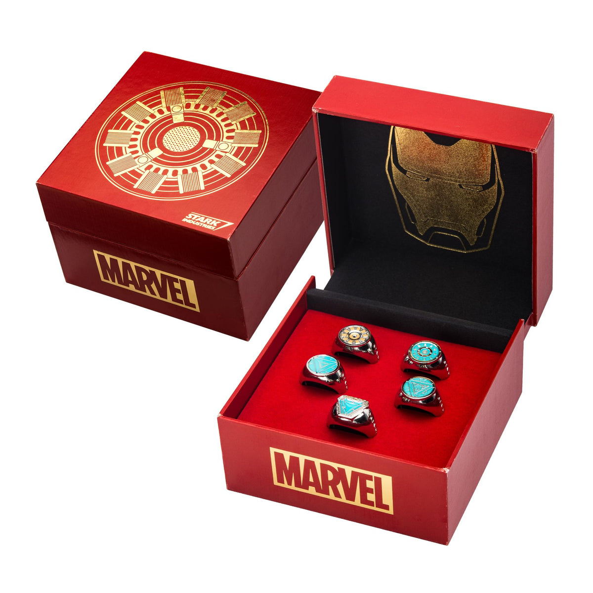 Marvel Iron Man Arc Reactor Adjustable 5 Ring Box Set