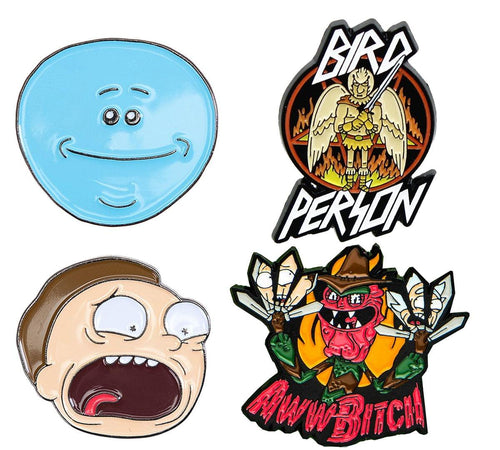 Rick and Morty Enamel Collector Pin Set: Meeseeks, Terry, Morty, Bird Person